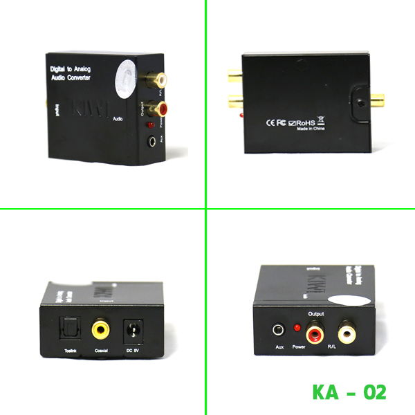 Bộ chuyển đổi Optical Audio to RCA Audio - Digital to Analog Audio R/L Toslink - Digital to AV Kiwi KA02