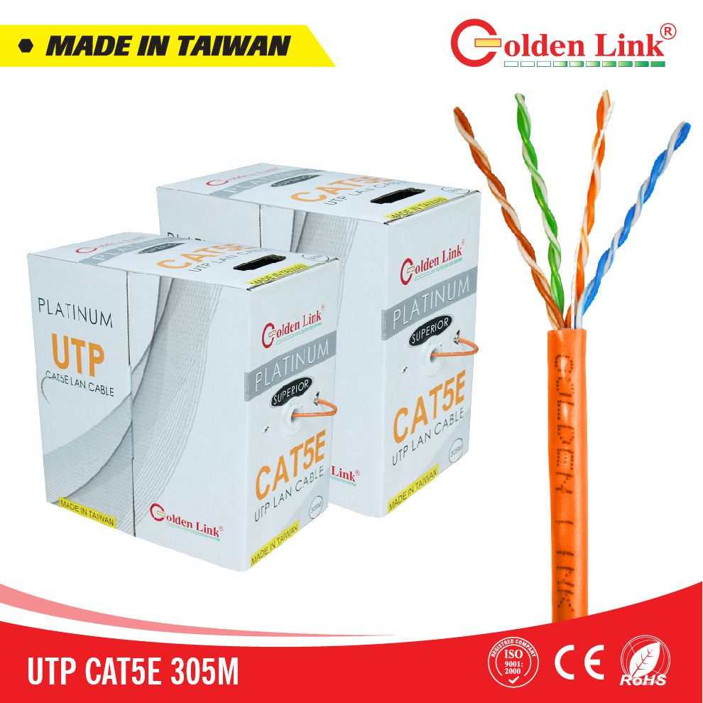 CÁP MẠNG GOLDEN LINK PLATINUM SFTP CAT 5E MADE IN TAIWAN ( cam/ Trắng)