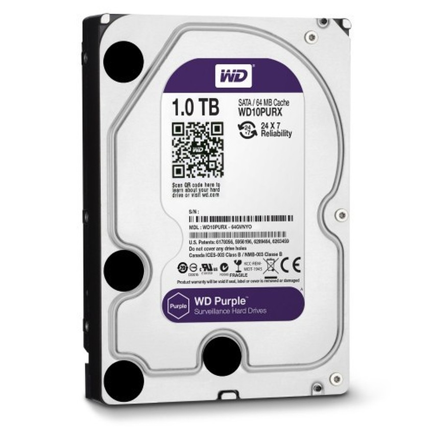 Ổ cứng HDD Western Digital Purple (Tím) / black 1TB chuyên Camera, renew BH Cty